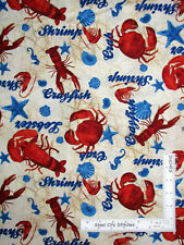 Bayshore Crab Shrimp Lobster Sea Food Nautical Cotton Fabric Kaufman By The Yard