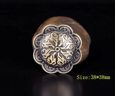 5pc 38*38MM Gothic Celtic Engraved Flower Antique Brass Nickel Conchos Screwback