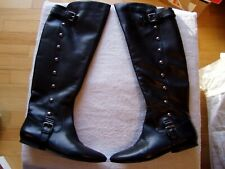 Vintage 70's Carlos Santana Women'S Knee High Black Leather Boots Sz 71/2 B