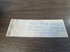 DUNMORE PA - HOLLYWOOD MARKET - WE DELIVER THE GOODS - MATCHBOOK COVER