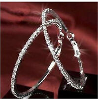 Medium size 50mm wide silver tone sparkly crystal hoop earrings