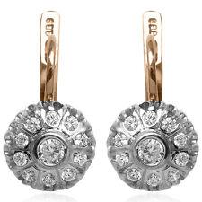 Russian Style Diamond Earrings 14k 585 Gold F/VS1-2 .60 ct.t.w.