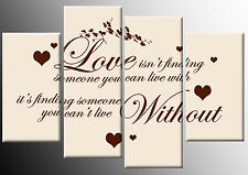 LOVE ISN'T FINDING QUOTE CANVAS CREAM BROWN PICTURE 4 PANEL SPLIT WALL ART 100cm