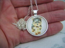 YORKSHIRE TERRIER Silver Plated Cabochon Pendant Necklace FREEPOST UK