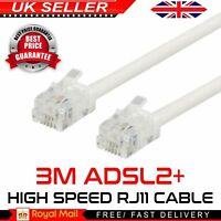 RJ11 to RJ11 Cable ADSL Broadband Modem Internet DSL Phone Router Cable Lead 3m