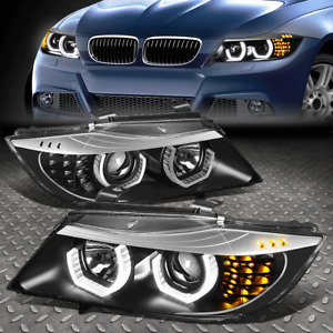 [LED U-HALO]FOR 06-08 BMW 3-SERIES E90 BLACK HOUSING PROJECTOR HEADLIGHT LAMPS