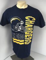EUC Vtg 1993 Competitor San Diego Chargers Spellout NFL T-shirt Blue Gold Large