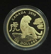 $150 2010 Year of Tiger 18KT Proof Canada - Complete Set - .285oz of Pure Gold