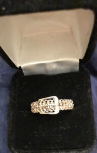 Dainty Little Sterling Silver Buckle Ring Size 8.75