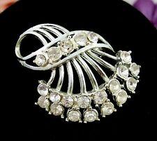Vintage RHINESTONE FAN SPRAY Brooch Silvertone PIN Curl Ribbon Abstract