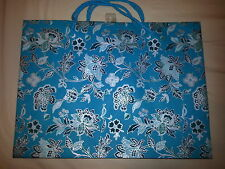 """Lot of 2 Teal & Silver Flower Design Gift Bags (15"""" x 11"""" x 4"""")"""