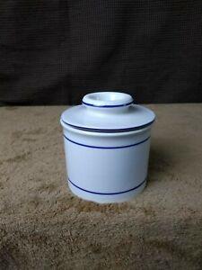 Vintage Butter Crock White with Blue Trim