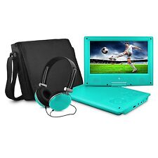 """Ematic 9"""" Swivel, Teal, Portable Dvd Player with Matching Headphones and Bag New"""