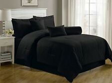 Luxurious 7-Piece Comforter Set Queen Size Bedding Black Bedspread Bed in a Bag