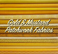 Gold Mustard Ochre Amber Patterned Floral + Themed 100% Cotton Patchwork Fabric