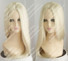 "new 24"" 60cm Platinum Blonde Long straight hair center part bang party wig"