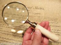 "Antique Style 3"" Brass Bone Handle Magnifying glass Desk Magnifier"