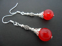 A PAIR OF DANGLY RED JADE BEAD EARRINGS WITH 925 SOLID SILVER HOOKS. NEW..