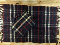 Vtg Personal Wool Stadium Blanket Throw & Matching Storage Bag 27x48 Fringe