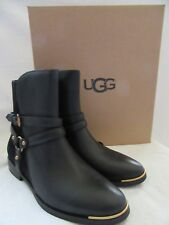 UGG Australia Kelby Black Leather & Suede Zip Boots Shoes Size US 9 EUR 40 NWB