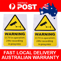 4pcs Yellow CCTV Warning Stickers CCTV  Recording in Progress Security Signs