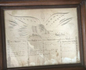 19th C. Calligraphy Art Eagle Handwriting Family History Genealogy BUTLER 1846-