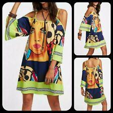 Trendy Multi-Color Graphic Print Open Shoulder Kimono Sleeve Dress or Blouse L