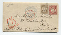 1872 Bavaria to Boston cover #24, #25 6kr bister [45.46]