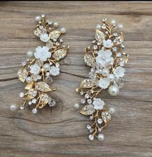 Bridal Wedding Pair Of Crystal Pearl Flower Antique Gold Hair Clips Head Piece