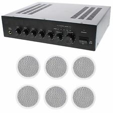 STORE/OFFICE BUSINESS BACKGROUND MUSIC & PAGING SOUND SYSTEM- AMP, 6 SPEAKERS +