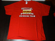"""Humorous Red T-Shirt """"Official Polish Drinking Team"""" Adult XL"""