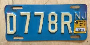 """1996 NEW JERSEY BUFF ON BLUE  MOTORCYCLE LICENSE PLATE """" D 778 R """" NJ 96"""