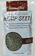 100% Whole Grain Hemp Seeds 12oz GOURMET NUT  Superfood Best By: 12/23/20