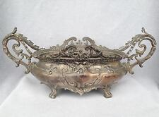 Antique french planter jardiniere 19th century silver plate Napoleon III heavy