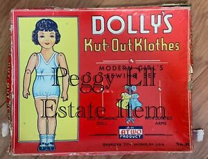"""1930'S AMERICAN TOY WORKS """"DOLLY'S KUT-OUT KLOTHES"""" BOXED SET w/DOLL & DRESSES"""