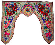 Door window valance topper handicrafts elephant embroider vintage cotton toran