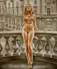 Blauhauser - AT THE BALCONY - 50x60cm - Ölgemälde Signiert - Nude oil painting