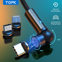 TOPK 180°+360° Magnetic Rotational USB Charge Cable for iPhone Type C Micro USB