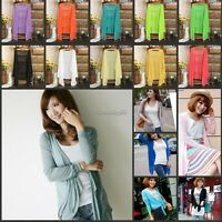 Women Cardigan Asymmetric Hem Waterfall Jersey Long Sleeve Shrug Top Candy Color