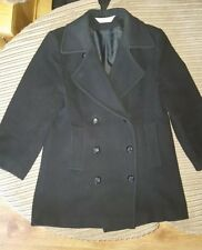 ladies black double breasted wool reefer jacket coat size 10 petite