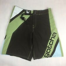 GOTCHA Board Shorts Swim Trunks Men's Size 32 Embroidered Shark Brown Olive Surf