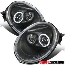 For 1998-2005 Volkswagen Beetle Black Halo Rim Projector Headlights Lamps Pair