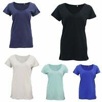 New Women's Plain Longline T Shirt Basic Crew V Neck Short Sleeve Tee Tops Dress