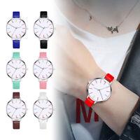 Damen Armbanduhr Kunstleder weiß Zifferblatt mit Ziffern Einfach Quarzuhr H/H