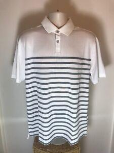 Ashworth Ex-Tec2 Golf Shirt, White With Grey Stripes, Size Large