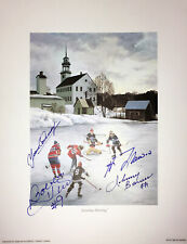Autographed Bower, Lafleur, Hull, Cournoyer Litho - Montreal, Chicago, Toronto
