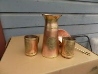 Handmade Vintage  Copper & Brass Pitcher And Mugs Mexico 4 Pcs,Artisanal Made