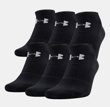 UNDER ARMOUR Charged Cotton 2.0 No Show 6-Pack Adult Socks US 12-16 Black NEW