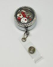 Nurse Floating Charm Locket ID Badge Reel - RN  ID Clip - Badge Holder -