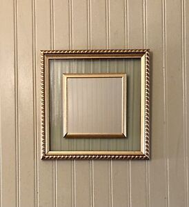 square gold framed accent mirror with glass inlay Vtg 11.5 X 11.5